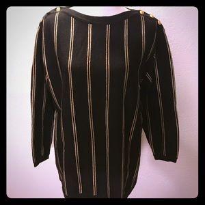 Vtg Black & Gold Liz Claiborne Oversized Sweater